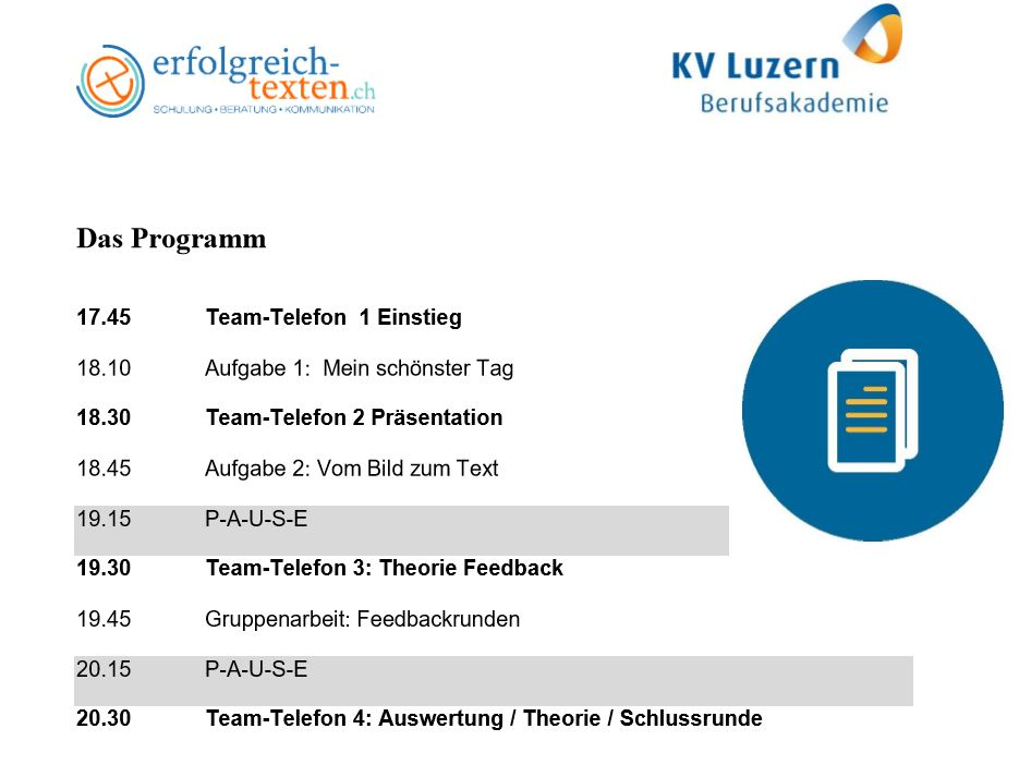 Zeitplan Online-Unterricht